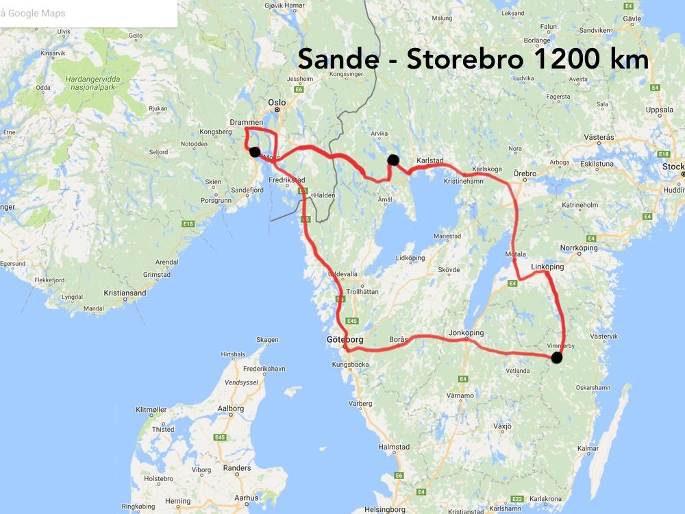 Det ble til sammen 1200 km